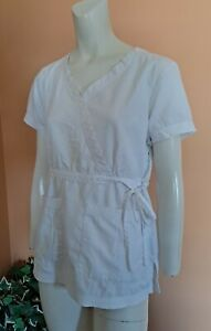 Koi By Kathy Peterson Scrub Top Nurse Medical Hospital Women's Size S White
