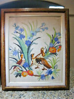 Yarn Picture 3D Antique Crewel Framed Floral Bouquet Embroidered Flower Art