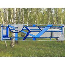 "Blue Art Deco Glass Window Panel Suncatcher 10.25"" x 42"" Horizontal"
