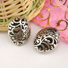 2Pcs Tibetan Silver,Antiqued,Bronze Hollow Filigree Oval Spacer Beads M1375