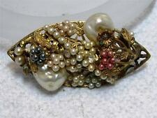 Vintage Faux Baroque Seed Pearl Pin Brooch Possibly ~ UNsigned Miriam Haskell
