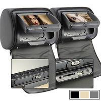 "2 x 7"" Digital Kopfstütze DVD Player Monitor HD Auto headrest Beige SD USB Game"