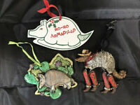 Lot Of 3 HO-HO Armadillo Christmas Tree Ornament Decoration Texas