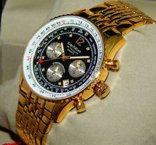 New Krug-Baümen 400103DS Air Traveller 8 Diamond Analog Gold Bracelet Watch
