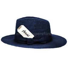 Blue Vintage Women's Floppy Wide Brim Straw Fedora Hat Summer Sun Cap With Bow