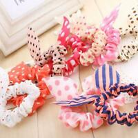 10X Girls Women Cute Rabbit Ear Hair Tie Rope Scrunchie Gift~ Ponytail Hold