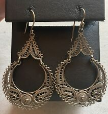 Vintage Sterling Earrings Door-Knocker Filigree Chandelier 2.25""