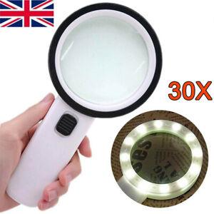30x High Power Handheld Magnifying Glass LED Light Jumbo Illuminated Magnifier