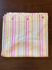 Pottery Barn Kids Chambray Stripe Fabric Shower Curtain, Pink Green 100% Cotton