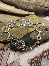 Silpada Sterling Silver Paper Chain Bracelet with Jade B1217