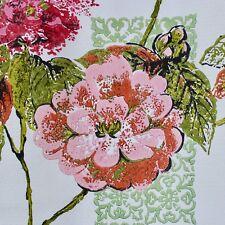 Vintage Fiberglass Curtain 40 X 58 Mid Century Pink Floral Green Latticework
