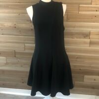 Free People Black Back Strap Fit 'n' Flare Dress Size L Ponte Knit