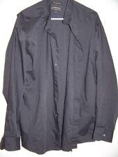 Arrow Company Pastime Banded Collarless Black LS Shirt  16.5 34/35