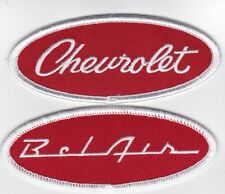 CHEVY BEL AIR RED WHITE SCRIPT SEW/IRON ON PATCH BADGE EMBROIDERED 1955-1960