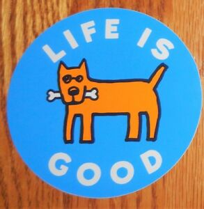 """Life is Good Sticker/Decal Rocket Bone 4"""" Round Marine Blue/Orange.White/Blk New"""