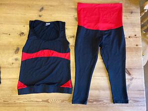 Maternity Sportwear Running Cycling Leggings & Vest Top Size 12/14 Black
