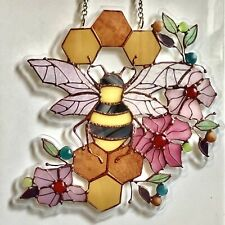 More details for acrylic stained glass effect honeycomb bee suncatcher manchester bee decoration