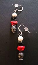 Genuine Hematite, Red Sea Bamboo, Pearl, Chip Onyx Earrings