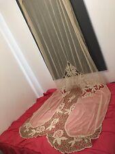 Ancien rideau tissu ancien tulle décoration 155 X 370 Cm