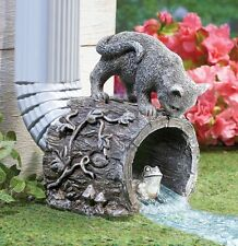 Curious Kitty Cat and Frog Outdoor Garden Downspout Statue