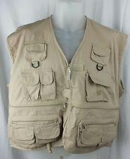 RIO BRAVO Mens Size 2XL XXL Cotton Casual Fly Fishing Vest Jacket Beige Pockets