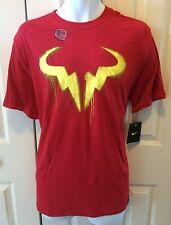 "NIKE Men`s Rafa Tennis T Shirt ""Red Spay"" NY 2013"