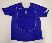 VTG Men's 2004 Nike Brazil Blue Soccer Sz M football Jersey Shirt Brasil Medium