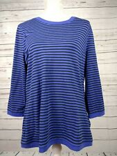 Hobbs Purple & Black Stripe Brushed Cotton Blend Jersey Top Size XL
