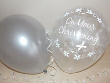 Boys / Girls ☆ Silver & Clear ☆ Printed Christening Balloons / Decorations x 15