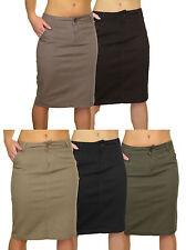 (2467) Stretch Denim Look Below Knee Jeans Skirt 8-18