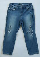 Torrid Womens Stretch Denim Medium Wash Ripped Straight Cropped Ankle Jeans 14S