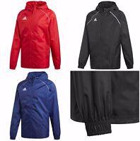 Adidas Mens Core Rain Jacket Waterproof Sports Football Hooded Windproof Coat