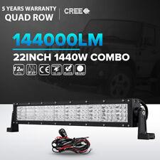 "Quad Row 22inch 1440W LED Light Bar Flood Spot Offroad Jeep Truck ATV SUV 23""24"""