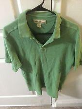 TOMMY BAHAMA Green Silk Blend Short Sleeve Polo Shirt Size L