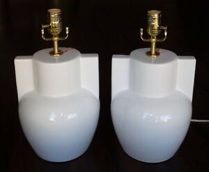 SET OF 2 RALPH LAUREN LARGE TABLE LAMPS PORCELAIN IVORY WHITE PAIR NEW NO SHADE
