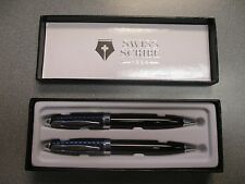 Swiss Scribe 1884 Mechanical Pencil and Pen Set Black And Silver Carbon Fiber
