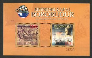 INDONESIA 2005 BOROBUDUR SHIP EXPEDITION SOUVENIR SHEET OF 2 STAMPS IN MINT MNH