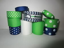 GROSGRAIN SEATTLE SEAHAWKS FOOTBALL RIBBON LOT FOR MAKING BOWS 10 YARDS