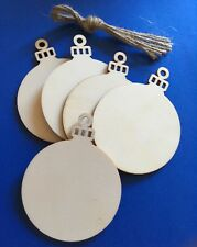 Natural Wood 'Christmas Bauble' shape blanks (x 5) for decoration, craft project
