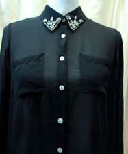 Iris Los AngelesWomens S Sheer Black Button Down Blouse Top with Studded Collar