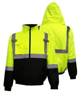 Hi Vis Class 3 Insulated Safety Bomber Jacket Winter Snow Jacket Lined Safety 18