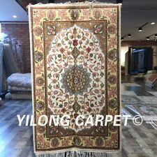 Yilong 2'x3' Beige Handmade Medallion Silk Carpet Small Handcraft Rug W268C