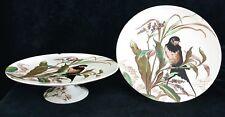 Antique BWM & Co. Brown Westhead & Moore Bird Pedestal Plates