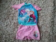 Safe In Sun Top & Shorts Frozen Elsa & Anna Disney Beach Pool  2-3
