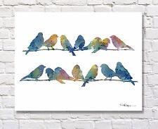 """""""Blue Finches"""" Bird Art Print by Artist DJ Rogers"""