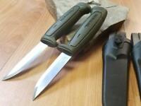 2 Pc Lot Mora Morakniv Basic 511 Carbon Steel Green Camp Survival Knife 01828