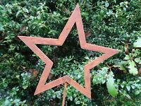 Gartenstecker kleiner Stern offen aus Metall, Rost, Gartendeko, 63 cm hoch