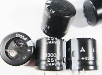 5 x 3300uF 25V ELKO snap in radial Matsushita Japan #14E32#
