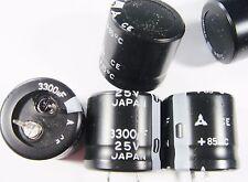 2 x 3300uf 25v Elko snap in radiale Matsushita Japan #14e32#