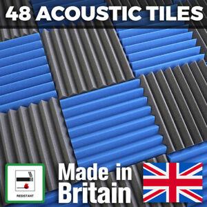 Acoustic Foam Tiles 48 Pack Mix Colour 24 Blue 24 Grey 50mm Thick Studio Panels